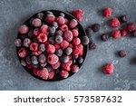 frozen raspberry  blueberry ... | Shutterstock . vector #573587632
