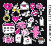 doodle icons  stickers.... | Shutterstock .eps vector #573595636