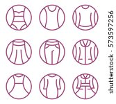 set of women's clothes icons.... | Shutterstock .eps vector #573597256