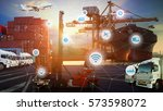 business logistics concept ... | Shutterstock . vector #573598072