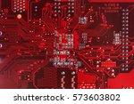 Red Circuit Board Background O...