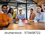 group of hipsters together in... | Shutterstock . vector #573608722