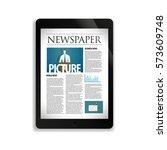 online newspaper on the screen...   Shutterstock .eps vector #573609748