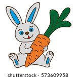 vector  isolated rabbit with... | Shutterstock .eps vector #573609958