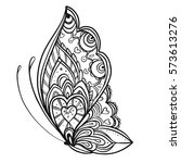 hand drawn butterfly zentangle... | Shutterstock .eps vector #573613276