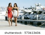 luxurious life for two women... | Shutterstock . vector #573613606