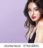 beauty girl face portrait red...   Shutterstock . vector #573618892