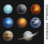 solar system planets realistic... | Shutterstock .eps vector #573624412