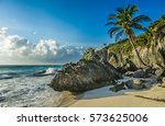 caribbean beach with coconut... | Shutterstock . vector #573625006