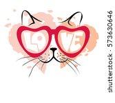 valentine card    enamored cat  ... | Shutterstock .eps vector #573630646