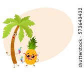 cute and funny pineapple and... | Shutterstock .eps vector #573643432