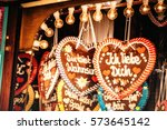 colorful gingerbread hearts at... | Shutterstock . vector #573645142