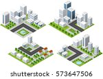 set 3d isometric | Shutterstock . vector #573647506