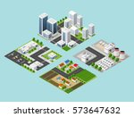 isometric three dimensional city | Shutterstock . vector #573647632