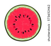 half of ripe watermelon with... | Shutterstock .eps vector #573652462