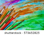 art brush on a colorful... | Shutterstock . vector #573652825