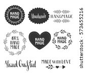 hand made labels. vector. hand... | Shutterstock .eps vector #573655216