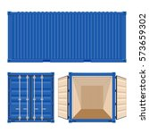 blue cargo container vector...