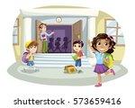 teacher and school kids at the... | Shutterstock .eps vector #573659416