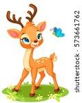 cute baby deer looking at... | Shutterstock .eps vector #573661762