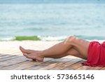 woman's beautiful legs on the... | Shutterstock . vector #573665146