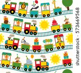 seamless pattern train with... | Shutterstock .eps vector #573669568