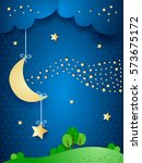 surreal landscape by night with ...   Shutterstock .eps vector #573675172