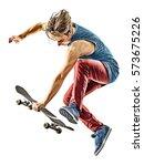 one caucasian skateboarder... | Shutterstock . vector #573675226