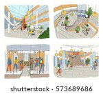 set of modern interior shopping ... | Shutterstock .eps vector #573689686