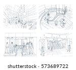 set of modern interior shopping ... | Shutterstock .eps vector #573689722