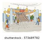 modern interior shopping center ... | Shutterstock .eps vector #573689782
