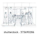 modern interior boutique ... | Shutterstock .eps vector #573690286