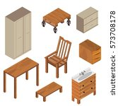 isometric furniture collection | Shutterstock .eps vector #573708178