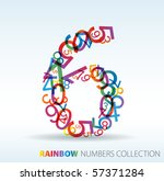 Number Six Made From Colorful...
