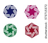 abstract hexagon and round logo ... | Shutterstock .eps vector #573715372