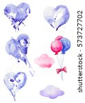 collection of hearts. balloons... | Shutterstock . vector #573727702