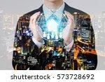 double exposure property... | Shutterstock . vector #573728692