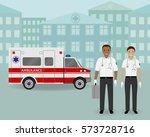 paramedics ambulance team and... | Shutterstock .eps vector #573728716