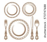 set of vintage silver cutlery... | Shutterstock .eps vector #573747688