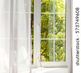 window with curtains  | Shutterstock . vector #573749608