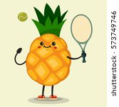 cute pineapple cartoon... | Shutterstock .eps vector #573749746