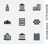 set of 9 simple structure icons.... | Shutterstock .eps vector #573764458