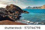 rocky coast of portman. located ... | Shutterstock . vector #573766798