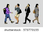 isolated characters walking in... | Shutterstock .eps vector #573773155