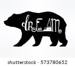 vintage style bear with slogan. ... | Shutterstock .eps vector #573780652