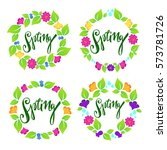 spring floral frames on white... | Shutterstock .eps vector #573781726