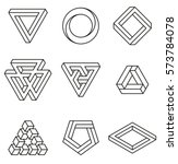 set of impossible shapes.... | Shutterstock .eps vector #573784078