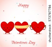 three cute hearts  background... | Shutterstock .eps vector #573787786