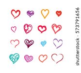 heart icons set vector ink... | Shutterstock .eps vector #573791656