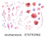 set of flowers  leaves and... | Shutterstock .eps vector #573792982